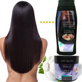 Шампоан и маска за бърз растеж на косата с Чесън, Кератин и Колаген Arsy Cosmetics Anti – Hair Loss Hair Mask & Shampoo